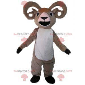 Mascota de cabra de carnero gris y blanco gigante -