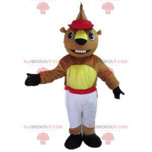Mascot brown and yellow beaver in white and red outfit -