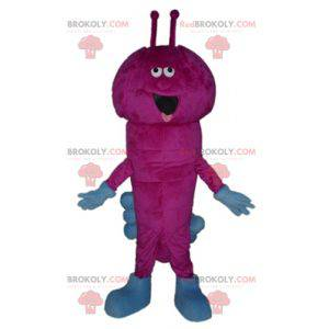 Veldig morsom rosa og blå larvemaskot - Redbrokoly.com