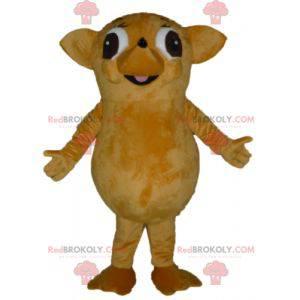 Mascote ouriço gigante e engraçado de bege e marrom -