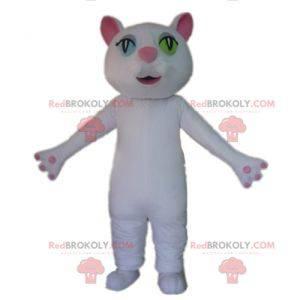 White and pink cat mascot with wall eyes - Redbrokoly.com