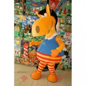 Morsom og fargerik oransje rød og svart hestemaskot -
