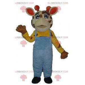 Giraf maskot med blå overall - Redbrokoly.com
