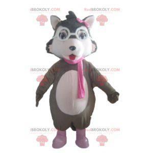 Weißes und rosa graues Wolfsmaskottchen mit Brille -