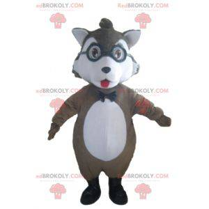 Gray and white wolf mascot with glasses - Redbrokoly.com