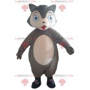 Plump and cute gray and pink wolf mascot - Redbrokoly.com