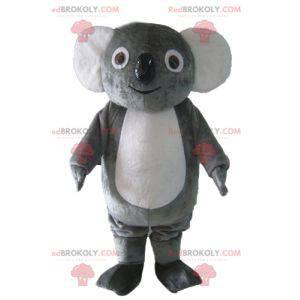 Mascote coala macio e engraçado, rechonchudo, cinza e branco -