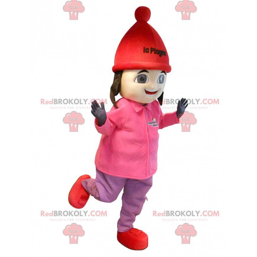 Brown girl mascot in ski outfit - Redbrokoly.com