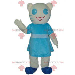 Weißes und blaues Katzenmaskottchen mit einem blauen Kleid -