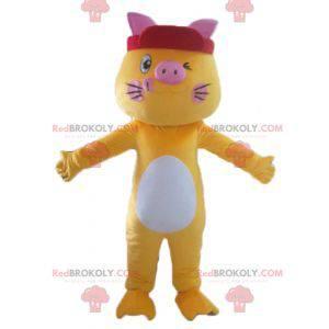Kolorowa i zabawna żółta biało-różowa maskotka kot -