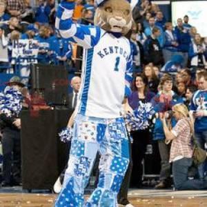Lynx tiger maskot i blått og hvitt antrekk - Redbrokoly.com
