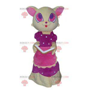 Yellow and pink cat mascot with a beautiful pink dress -