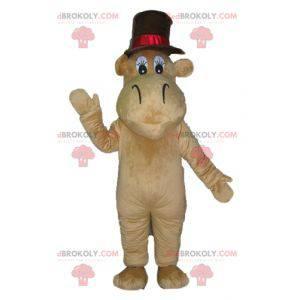 Mascotte di ippopotamo marrone cammello con un grande cappello