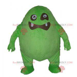 Funny and original big green and black monster mascot -