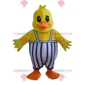 Yellow duck chick maskot med kjeledress - Redbrokoly.com