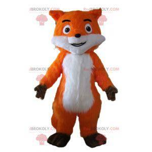 Linda mascote laranja raposa branca e marrom muito realista -