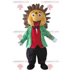Mascote ouriço bege e marrom em traje elegante e colorido -