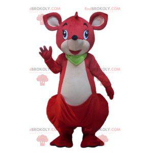 Red and white kangaroo mascot with a green scarf -