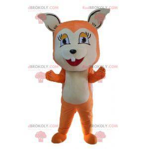 Leuke en ontroerende oranje en witte vos mascotte -