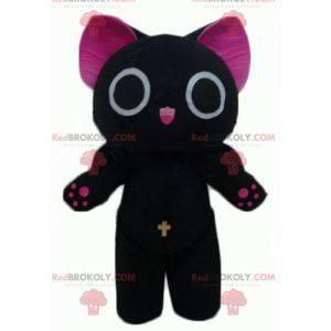 Funny and original big black and pink cat mascot -