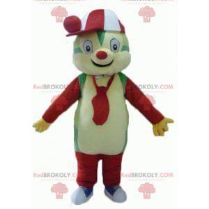 Barevný medvídek maskot zelená žlutá červená a bílá -