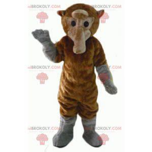 Braunes und graues Affenmaskottchen mit einem langen Schwanz -