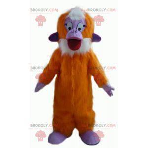 Oranžová fialová a bílá opice maskot všechny chlupaté -