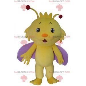 Mascota mariposa insecto amarillo y morado - Redbrokoly.com