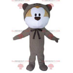 Maskottchen aus beige und weißem Teddybär in grauer Kombination