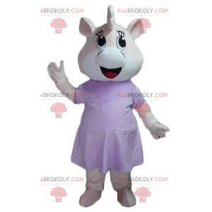 Mascotte maiale ippopotamo rosa e bianco in abito -