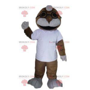 Mascota de león marino marrón y blanco - Redbrokoly.com