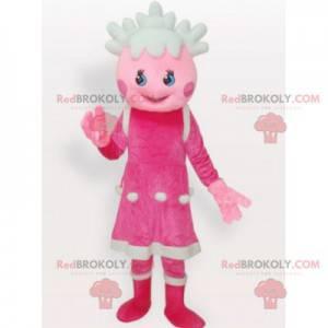 Růžová a bílá panenka dívka maskot - Redbrokoly.com
