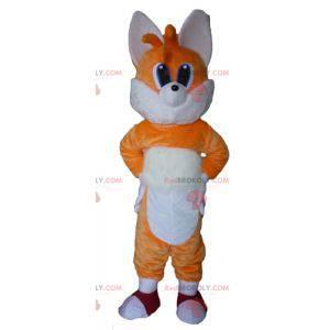 Maskot oranžová a bílá liška s modrýma očima - Redbrokoly.com