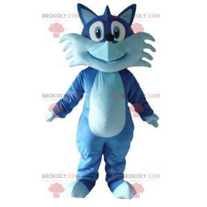 Maskottchen hübscher zweifarbiger blauer Fuchs lächelnd -