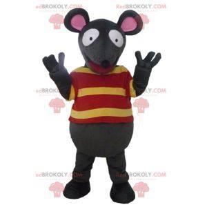 Zábavný maskot šedé a růžové myši s pruhovaným tričkem -