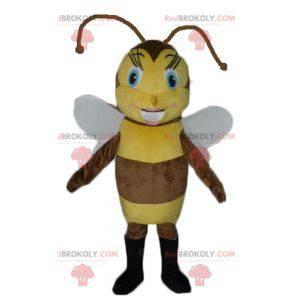Hnědý a žlutý včelí maskot koketní a ženský - Redbrokoly.com