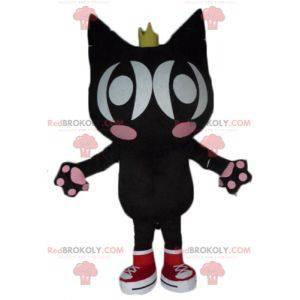 Černá a růžová kočka maskot s křídly a korunou - Redbrokoly.com