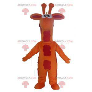 Mascota jirafa gigante naranja roja y amarilla - Redbrokoly.com