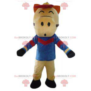 Red and black beige horse mascot dressed in blue -