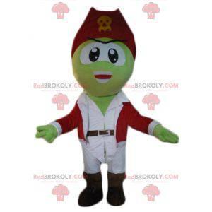 Mascote pirata verde em roupa branca e vermelha - Redbrokoly.com