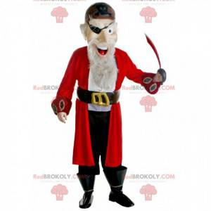 Mascote pirata barbudo com uma roupa vermelha preta e branca -