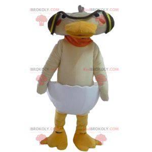 Beige Ente des Maskottchens in einer Eierschale - Redbrokoly.com