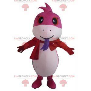 Mascot bonita serpiente rosa y lunares blancos - Redbrokoly.com