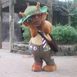 Brązowy bóbr maskotka wiewiórka z zielonym kapeluszem -