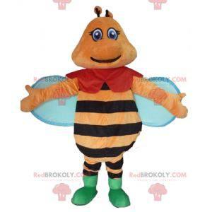 Oranžové černé a modré barevné a usmívající se včelí maskot -