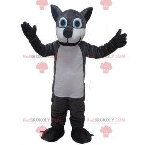 Graues und weißes Riesenwolfmaskottchen - Redbrokoly.com