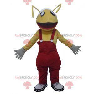 Maskot gule myrer med rød overall - Redbrokoly.com
