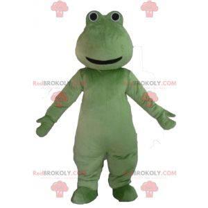 Velmi usměvavý maskot zelená žába - Redbrokoly.com