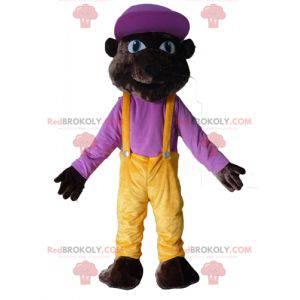 Dunkelbrauner Tiger Maskottchen Bär im bunten Outfit -