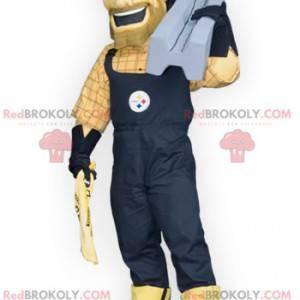 Údržbář pracovník muž maskot v montérkách - Redbrokoly.com